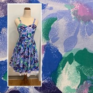 Misty womens floral 1950-retro-style dress size 6